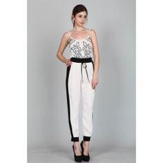 http://www.salediem.com/shop-by-size/small/waistband-pants-w-side-contrast.html  Sale Diem  #salediem #blackandwhite #fashion