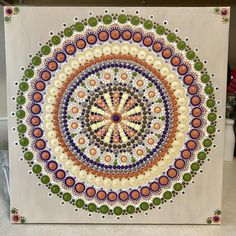 This is a inches (approximately cm) canvas. All in dots with 80 crystals on it. Finished touch with krylon UV resistant clear acrylic coating. Mandala Art, Mandala Canvas, Mandala Painting, Chakra Healing, Chakra Art, Dot Art Painting, Rock Art, Clear Acrylic, Photo Art