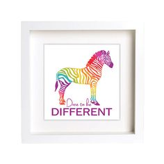 Zebra  Rainbow Stripes  Dare to be Different  by CreativeWildChild, $28.00