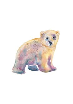 Childrens Art - A4 11.7x8.3in - Animal Painting - Watercolor Painting  - Nursery Art Print- Baby Polar Bear