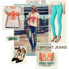 """Classic Tee + Bright Jeans"" by tsjgbrand on Polyvore"