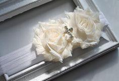 Ivory Baptism silk cross Flower Headband Baby to by verosjoy, $14.00