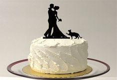 A beautiful Silhouette Wedding Cake Topper with Pet Cat. You may choose from the silhouette options 1 to 4 for the cat, as shown in listing