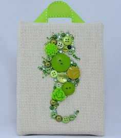 Button Art, Painted With Buttons  Green Seahorse - Button Art, Vintage Buttons by PaintedWithButtons, $45.00