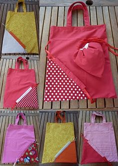 Come cucire borsa shopper richiudibile – Tutorial Sewing Hacks, Sewing Tutorials, Sewing Projects, Sewing Patterns, Sewing Diy, Pochette Diy, Diy Sac, Patchwork Bags, Fabric Bags