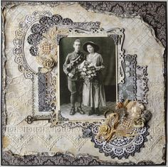 Wedding Day, 1917 ~ Mixed media heritage page with modeling paste stenciled background, lace doilies and trims, button cluster and rolled, distressed edging - simply gorgeous!