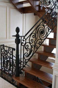 We produce high quality stairways from wrought iron and forged iron in Toronto. Interior railings, fence, staircase and gates are the design products available. Steel Railing Design, Wrought Iron Staircase, Wrought Iron Stair Railing, Iron Balusters, Stair Handrail, Staircase Railings, Stairways, Rod Iron Decor, Staircase Design Modern