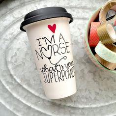 Nurse Travel Mug Ceramic Coffee Mug by MorningSunshineShop