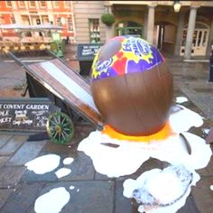 Giant Caburys Cream Egg falls off the wagon Creamed Eggs, Funny Bunnies, Bunny, Food And Drink, Chocolate, My Favorite Things, Cute Bunny, Chocolates, Rabbit