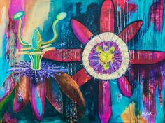 A 30x40 Acrylic on Canvas. A bright and wild Passion flower with lots of layering, drips and a happy outlook! The perfect piece for home décor, a statement piece. Its fun and modern with lots of depth. A signed original painting with lots of texture.
