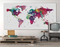 World Map Push Pin, Large world map, Decorative Push Pins, Abstract World Map, Travel Gift, Wall Decor, Worldmap poster, Christmas Gift-1069