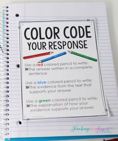 FREE printable to teach students to color code their constructed response reading answers. For the weekly reading response question 6th Grade Ela, 4th Grade Writing, 5th Grade Reading, Teaching Writing, Writing Activities, Race Writing, Third Grade, Fourth Grade, Teaching Ideas