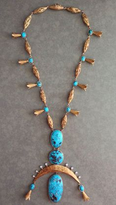 Alexander Kower Gold Turquoise Diamond Necklace | 1stdibs.com