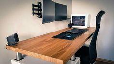 Top 10 Stunning Home Office Design - Site Home Design Setup Desk, Computer Desk Setup, Gaming Room Setup, Pc Desk, Home Office Setup, Home Office Lighting, Pc Setup, Home Office Design, Office Style