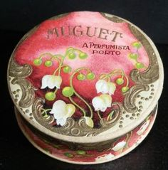1904 ~ Antique Face Powder Tin with Lily of the Valley Design on Pink ~ by Muguet, A Perfumista, Porto, Portugal ....