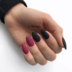 """Exclusive Black and Reddish Pink Nail Art Designs 2019 Exclusive Black and Reddish Pink Nail Art Designs """"pinner"""": {""""username"""": """"sassysnippy"""", """"first_name"""": """"Brittany"""", """"domain_url"""": null, """"is_default_image"""": false, """"image_medium_url"""":. Matte Pink Nails, Pink Nail Colors, Pink Nail Art, Pink Black Nails, Nail Black, Manicure Colors, Matte Red, Glitter Nails, Acrylic Nails"""