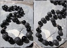 Lava rock and onyx necklace with marcasite accents. Handmade by me.