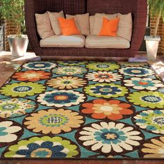 Promise Kilbury Multi-colored Floral Area Rug (7'8 x 10'10) - Overstock™ Shopping - Great Deals on Carolina Weavers 7x9 - 10x14 Rugs