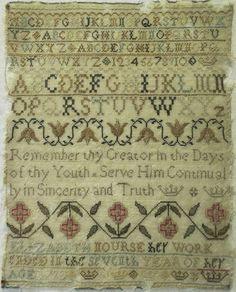 18TH CENTURY SAMPLER BY ELIZABETH NOURSE - AGED 7 - 1790