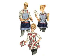 1950s Apron Pattern Simplicity 3206 Size Small  Bust Chest 31-32 Wide Round Neckline Divided Pocket Mens & Womens Vintage Sewing Patterns