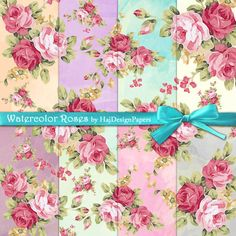 Watercolor Roses - Instant Download, Digital Scrapbook Paper, Shabby chic paper, decoupage paper, watercolour roses, floral paper, roses