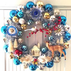 Dazzling Woodland Vintage Christmas Ornament Wreath Diorama                                                                                                                                                                                 More