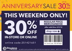 Payless Shoes 30% Off This Weekend! 7% Cash Back!