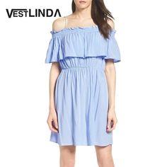 Off Shoulder Dress Spaghetti Strap Flounce Ruffle Women Dresses Solid Cotton