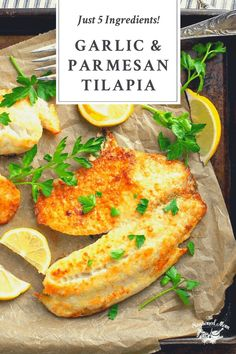 This 5-Ingredient Garlic and Parmesan Crusted Tilapia is a delicious and easy dinner recipe that's ready for the table in just 15 minutes! Fish | Seafood | Healthy Dinner