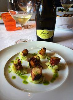 In #Friuli we #colour #life with #taste! #Fantinel #RibollaGialla Brut at #RistoranteLaTorre #Spilimbergo #sparkling #wine #winelover #food #foodandwine #foodporn #dish #octopus #fish #potatoes #restaurant #italy #lifeisgood