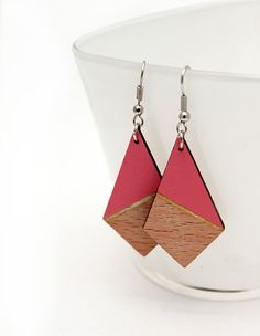 Geometric triangle wooden earrings,  salmon rose, gold, natural wood, color block by TheiaDesign