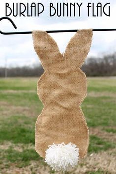 """""""Add this adorable burlap bunny flag to your garden this spring. A rustic way to bring a little Easter to the outside of your home. It is easy to make and you will love the results!"""""""
