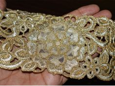 Gold Kundan Lace, Metallic Gota Ribbon, Embellished Border, Gold Gota Patti, Border, Ribbon By 1 yard