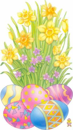 Daffodils and Easter eggs Easter Art, Easter Crafts, Easter Bunny, Easter Eggs, Happy Easter Clip Art, Easter Images Clip Art, Jesus Easter, Bunny Images, Decoupage