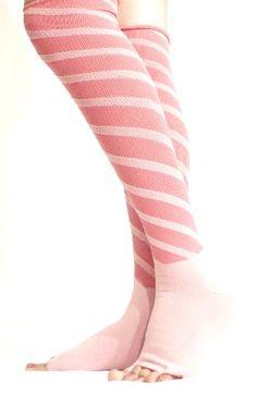 $17.99 awesome Lace Poet Fuschia/pink Stripe Yoga/sleep Over the Knee Compression Toeless Socks