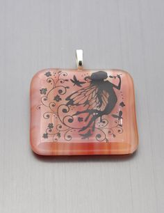 Light orange glass pendant with a whimsical fairy Big by Kaelay