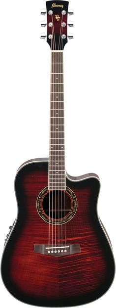 Ibanez PF28ECETRS PF Series Acoustic/Elec Guitar in Trans Red Sunburst $299.99 altomusic