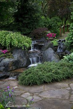 Pondless Waterfall, Backyard Landscape, Low Maintenance Backyard Aquascape designs, builds, and main Waterfall Landscaping, Garden Waterfall, Pond Landscaping, Diy Waterfall, Backyard Water Feature, Ponds Backyard, Backyard Waterfalls, Backyard Ideas, Garden Ponds
