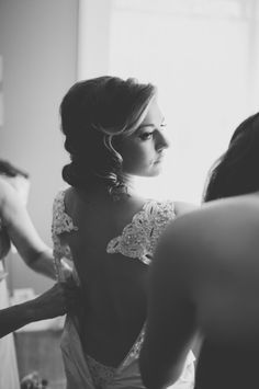 Today's gorgeous Southern wedding is the epitome of rustic chic, with a sophisticated palette of cherry red, black, and ivory and a gorgeous barn reception! Lace Back Wedding Dress, One Shoulder Wedding Dress, Wedding Dresses, Romantic Lace, Cherry Red, Rustic Chic, Hue, Black And White, Red Black