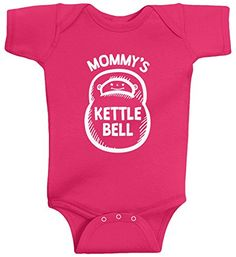 Threadrock Baby Girls' Mommy's Kettlebell Infant Bodysuit 6 Months Hot Pink ** Check out the image by visiting the link.