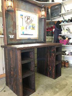 Rustic Make Up Vanity Ikea Hacks Makeup Vanity, Rustic Makeup Vanity, Rustic Vanity, Rustic Desk, Farmhouse Vanity, Wood Vanity, Rustic Farmhouse, Diy Vanity Table, Make Up Desk Vanity