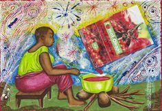 Papa Mfumu'Eto 1er - Série miniatures - Tomat'Okapi, 2014, acrylique sur toile, 24 x 35 cm