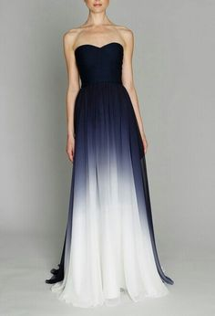 Bridesmaid dress- Navy Ombre Dress by Monique Lhuillier from The Sweetest Occasion Stunning Dresses, Beautiful Gowns, Beautiful Outfits, Gorgeous Dress, Gorgeous Gorgeous, Absolutely Gorgeous, Strapless Dress Formal, Prom Dresses, Wedding Dresses