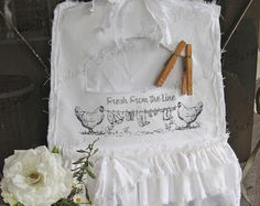 """Clothespin Bag - Farm Style - """"Fresh From The Line"""" - White on White, Tattered Ruffles, Shabby Country, Farmhouse Chic"""