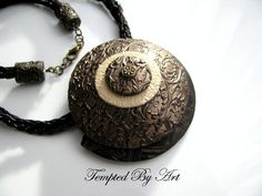 Bronze Color Necklace Handmade Jewelry Polymer Clay Pendant Bronze Pendant  Circle Necklace Gift For Her Anniversary Present  Vintage (29.00 GBP) by TemptedByArt