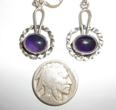 Artisan Handcrafted Sterling Silver Amethyst Dangle Earrings Made USA NO RESERVE
