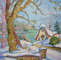 """A Great Lakes Christmas Morning Storybook Cottage Series"" - Original Fine Art for Sale - © Alida Akers"