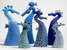 Seahorses, Ceramic sculptures by Sue Crossfield