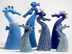 Seahorses, Ceramic sculptures by Sue Crossfield