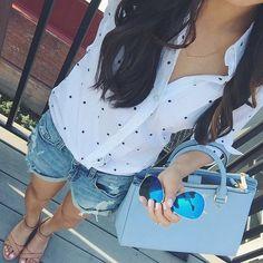 Casual weekend outfit: dressing down a button-up shirt. Ann taylor polka dot shirt, denim boyfriend shorts, michael kors bag, ray ban aviators